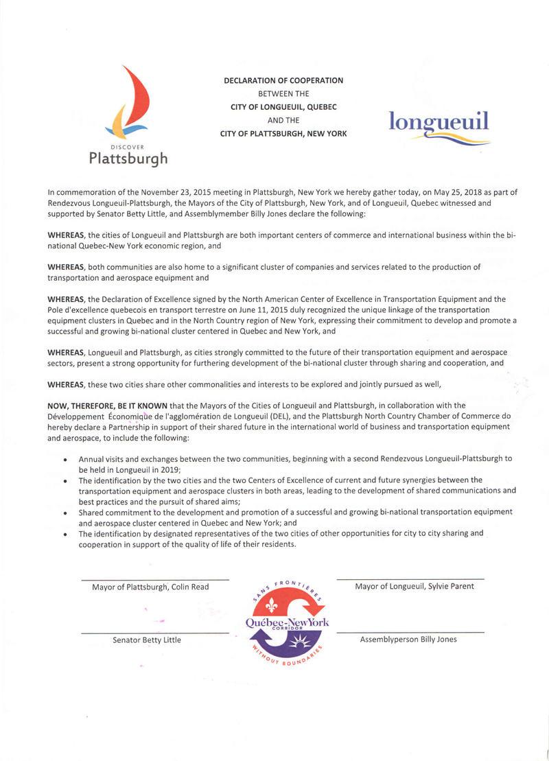Photograph of Longueuil-Plattsburgh agreement