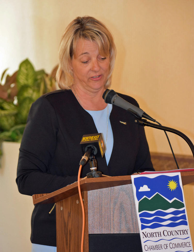 Longueuil Mayor Sylvie Parent speaks to the crowd at the Elks Club in Plattsburgh