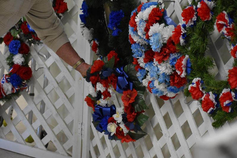 Placing a wreath