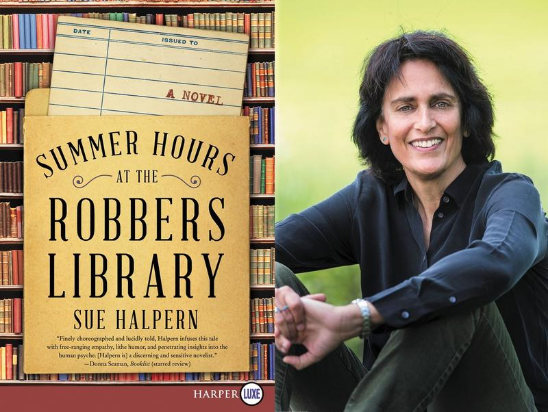 Book cover and author photo Sue Halpern and Summer Hours at the Robbers Library