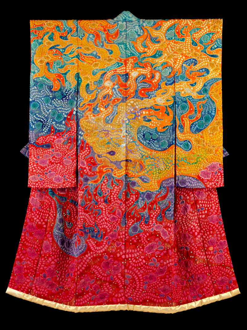 brightly colored kimono - Symphony of Light: The Universe U/ Deep Space (1999) tie-dyeing, ink painting, embroidery and gold leaf on silk crepe (chirimen) with gold wefts 198x139 cm (IKMC-076)