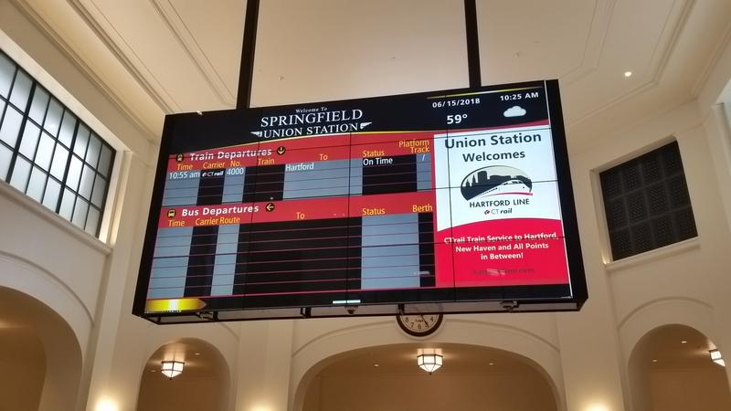Message Board at Springfield Union Station announces inaugural CTrail train