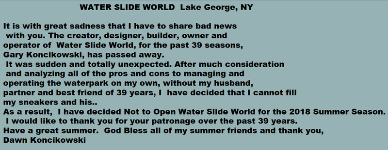 A message posted to the Water Slide World website from Dawn Koncikowski