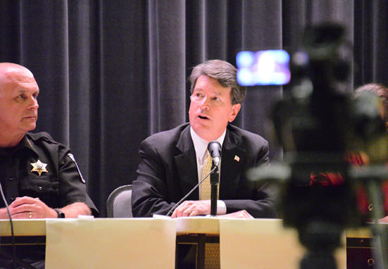 Columbia County Sheriff David Bartlett and Congressman John Faso (NY-19) at guns and school safety discussion at Hudson High School