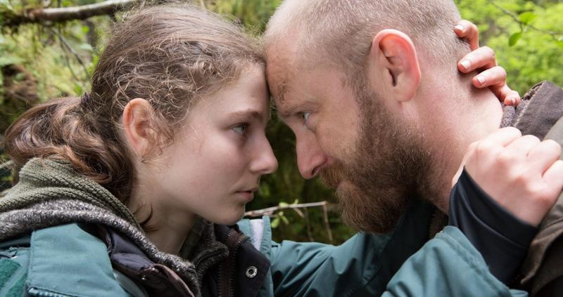 "Tom (Thomasin Harcourt McKenzie) and Will (Ben Foster) as daughter and father in ""Leave No Trace"""