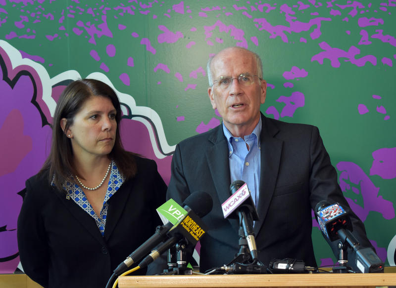 Congressman Peter Welch and Vermont Chamber President Betsy Bishop (left) discuss Canadian tariffs