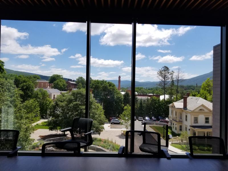 A view of campus from a conference room in the new building.