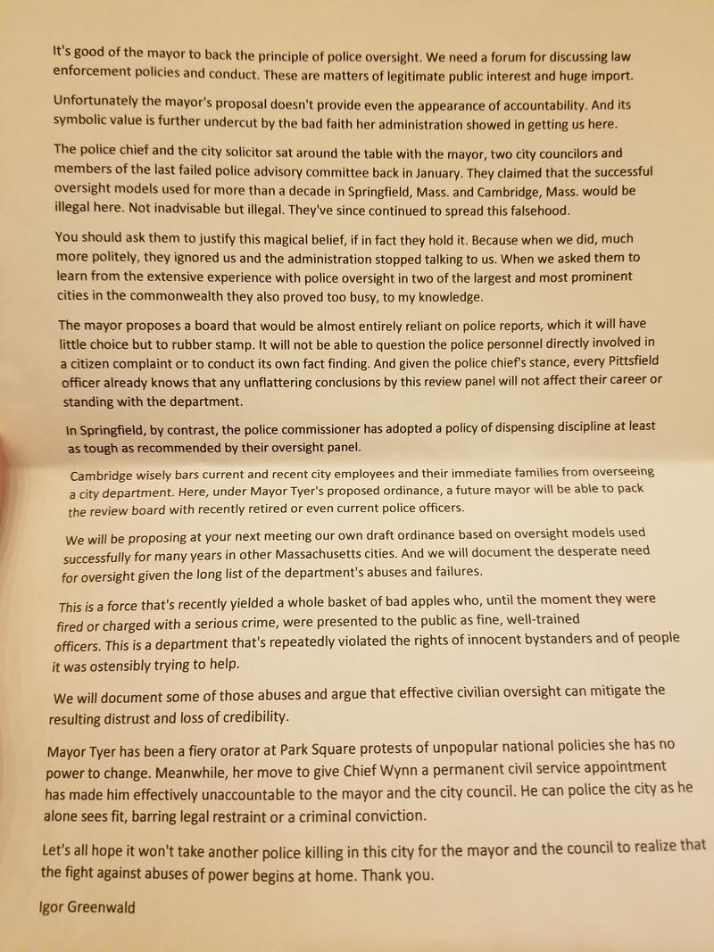 The full text of Igor Greenwald's statement to the Pittsfield City Council on Mayor Tyer's police oversight proposal.