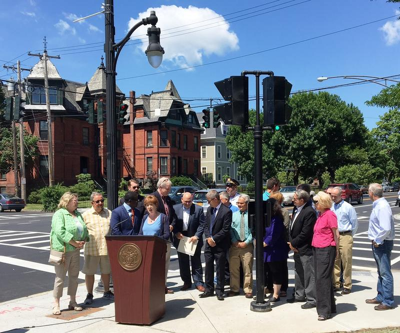 Albany Mayor Kathy Sheehan annopunces the completion of the major components of the 2nd and final phase of the street calming initiative along Madison Avenue.