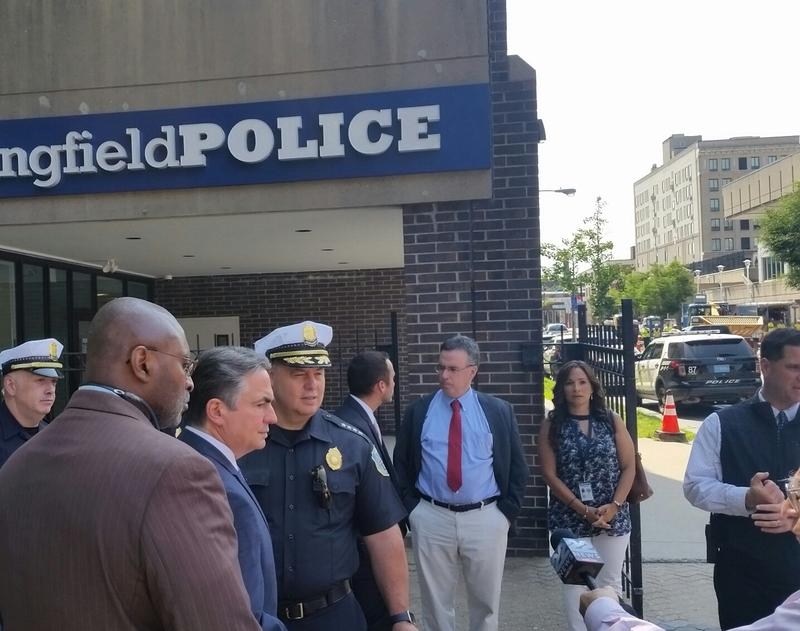Police and city officials held a press conference to announce the opening of the new downtown substation.