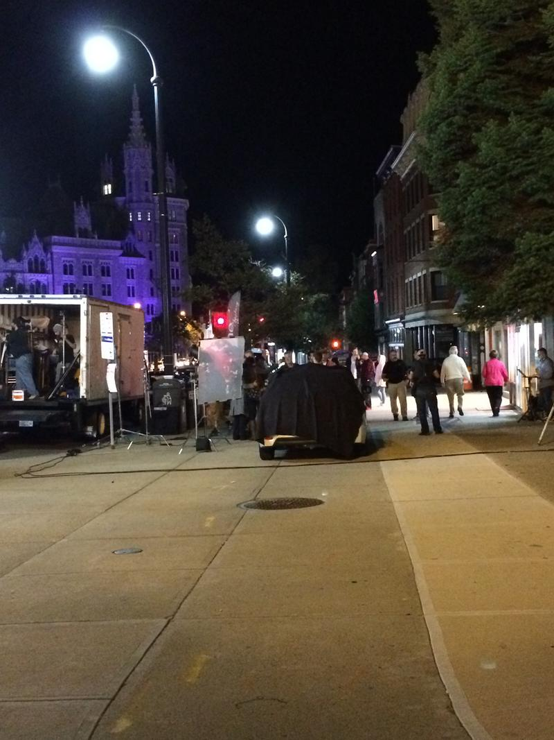 A film crew working in downtown Albany in 2016.