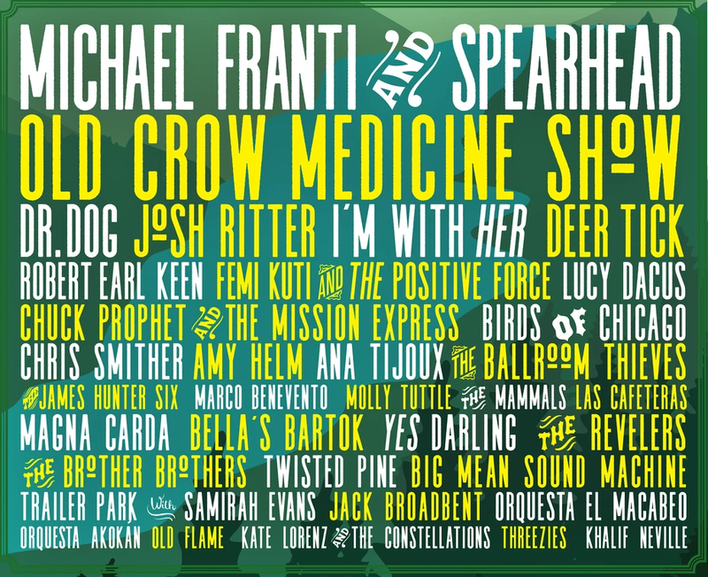 Green River Festival line-up of bands for 2018 (white and yellow letters on a green background)