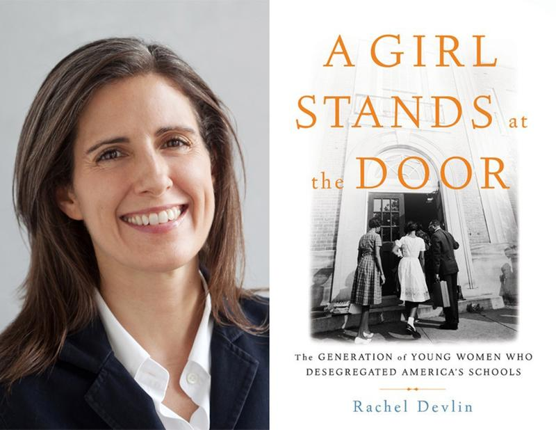"Rachel Devlin and book cover ""A Girl Stands at the Door"""