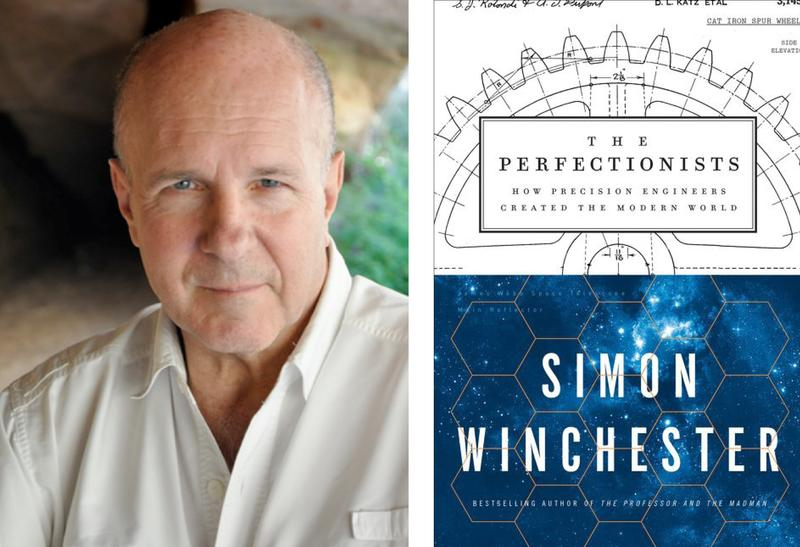 "Simon Winchester and book cover for ""The Perfectionists"""