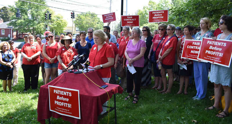 Deb Snell announcing the nurses' strike plan earlier this month
