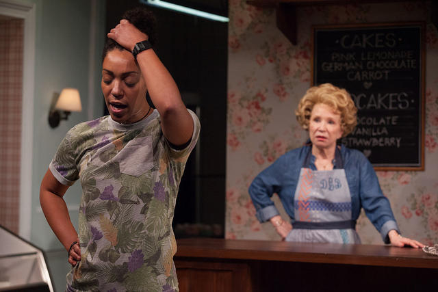 "Nemuna Ceesay and Debra Jo Rupp in a scene from ""The Cake"" at Barrington Stage"