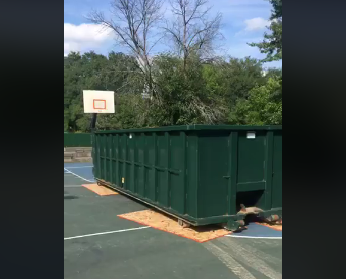 """More than 9,000 people have watched Patrick Robinson's video.  """"To add more insult to injury, they took the rims down. On both courts. Took the rims down."""""""
