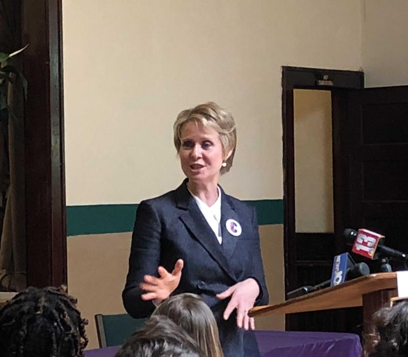 Cynthia Nixon speaks to voters at the New Covenant Christian Fellowship Church in Albany