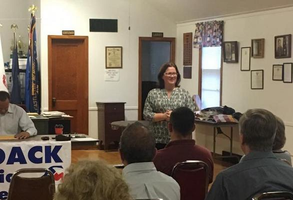 Rensselaer County DA candidate Mary Pat Donnelly addresses the Schodack Democratic Caucus.