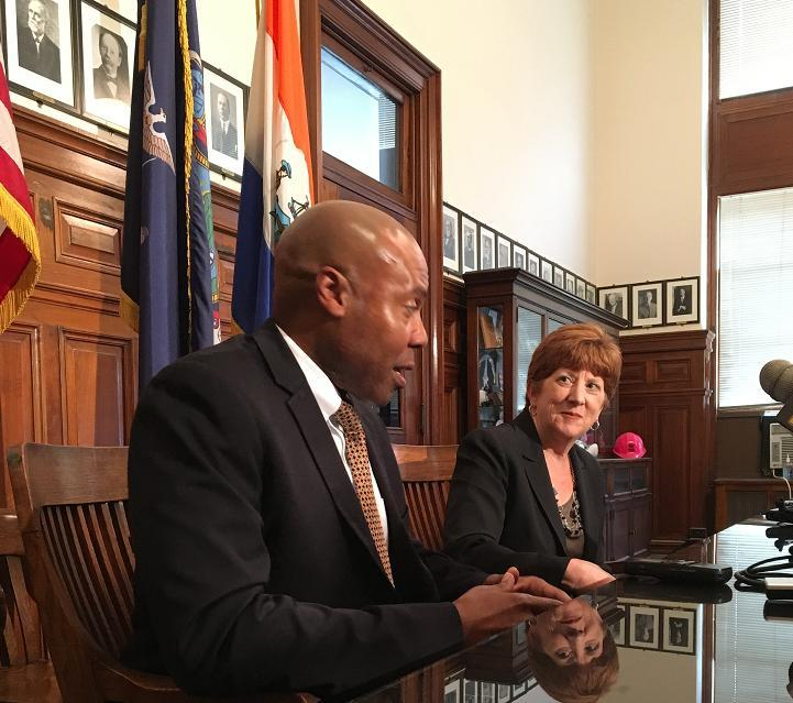 Albany Mayor Kathy Sheehan introduces Chief Eric Hawkins, her choice to lead the police department.