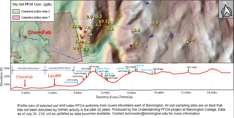 A map showing concentrations of PFOA detected east of Bennington, Vermont