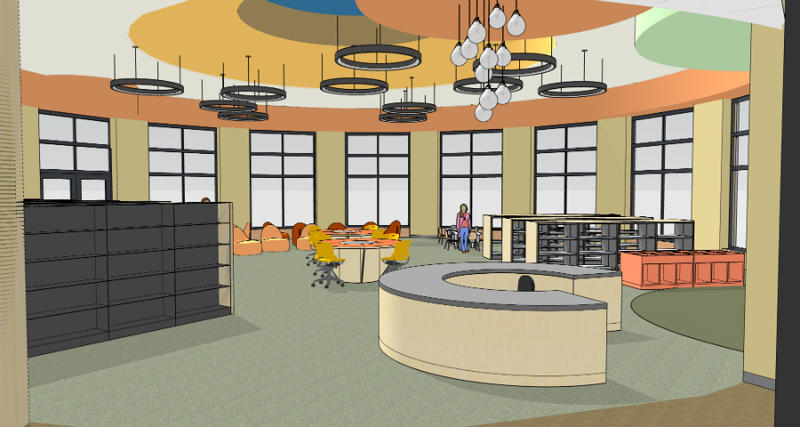 A rendering of part of the interior of the new East Forest Park Library Branch.