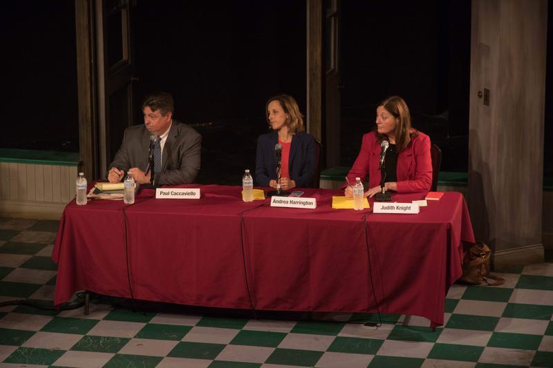 DA Paul Caccaviello and attorneys Andrea Harrington and Judith Knight.