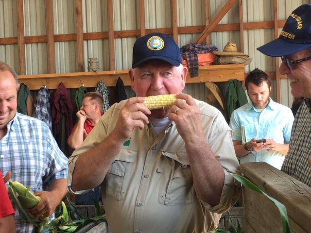 U.S. Agriculture Secretary Sonny Perdue Tastes American Dream variety corn at Altobelli Family Farm