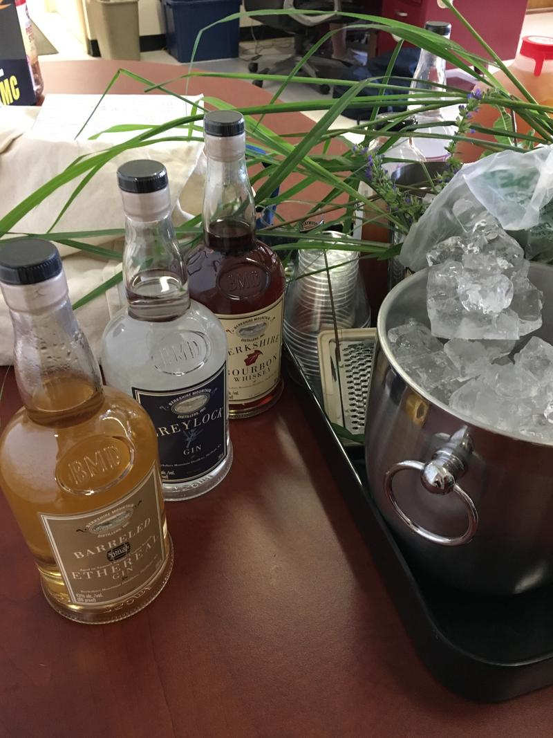 Berkshire Mountain Distillers set-up in the front office of WAMC