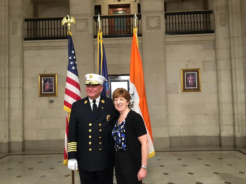 Albany Fire Chief Joe Gregory with Mayor Kathy Sheehan in the City Hall Rotunda, August 17, 2018