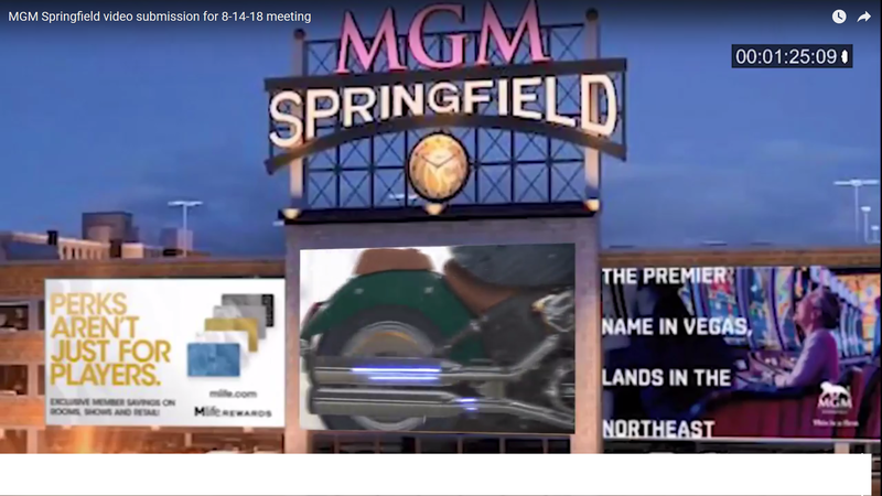 The MGM Springfield sign on the side of the casino parking garage