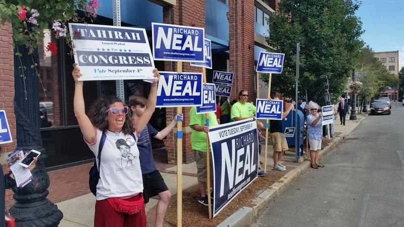 Supporters of Neal and Amatul-Wadud waived signs and chanted outside the WGBY studios in Springfield where the candidates recorded a half-hour debate.