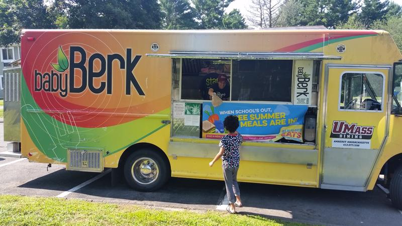 "The UMass Amherst Dining Service's food truck ""BabyBerk"" brought lunch to hundreds of children in Amherst, Mass. this summer."