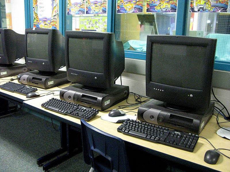 A row of computers