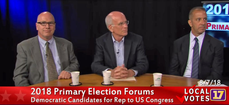 From left: Benjamin Mitchell, Peter Welch and Dan Freilich in a screenshot from Channel 17's Congressional Primary Forum