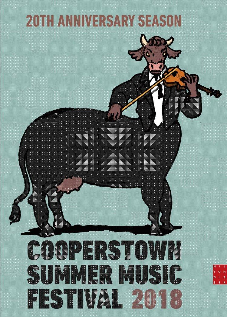 Cooperstown Summer Musica Festival poster for 2018 by Milton Glaser