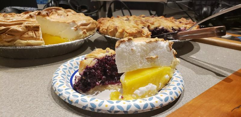 Deanna Fox's blueberry and lemon meringue pies