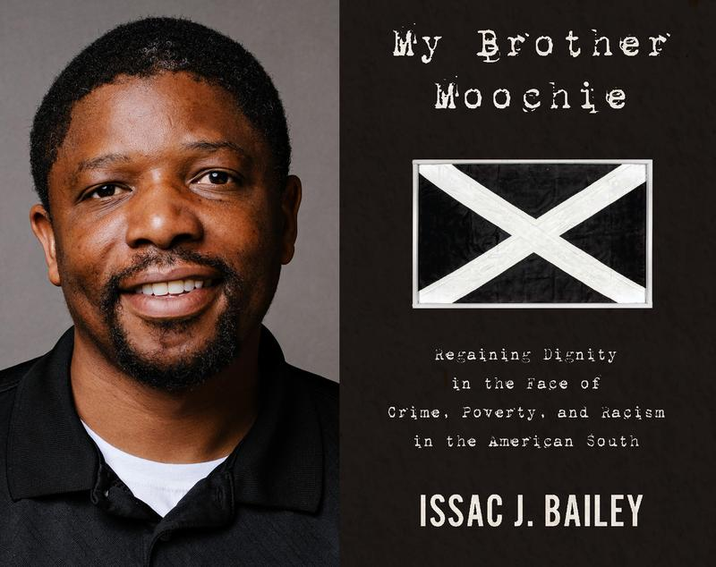 "Issac Bailey and book cover ""My Brother Moochie"""
