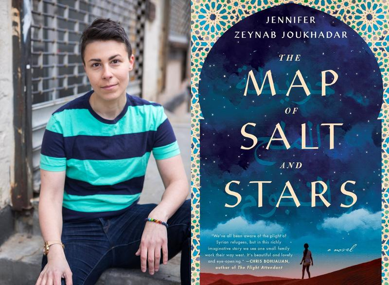 "Jennifer Zeynab Joukhadar and book cover ""The Map of Salt and Stars"""