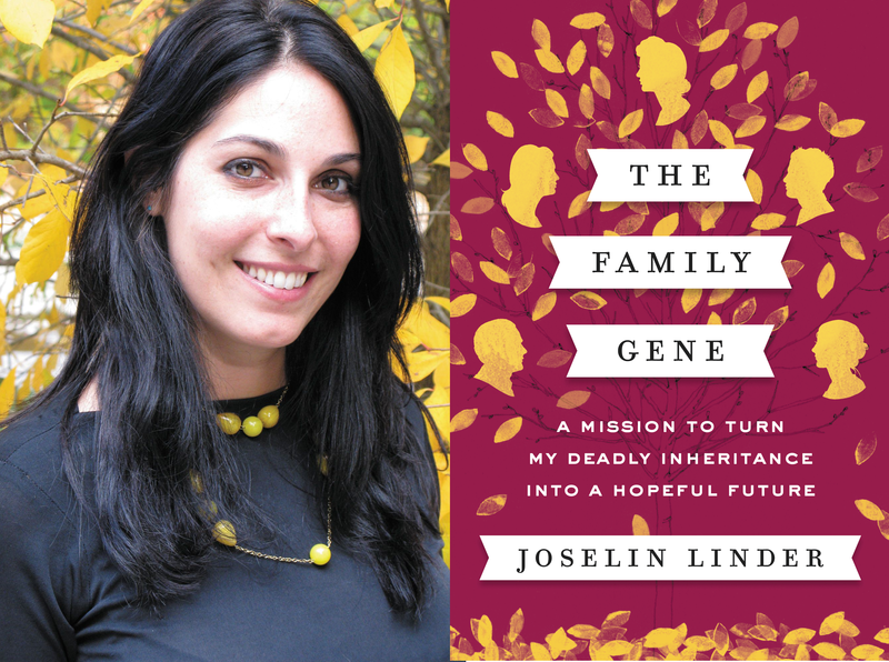 Joselin Linder and book cover for The Family Gene