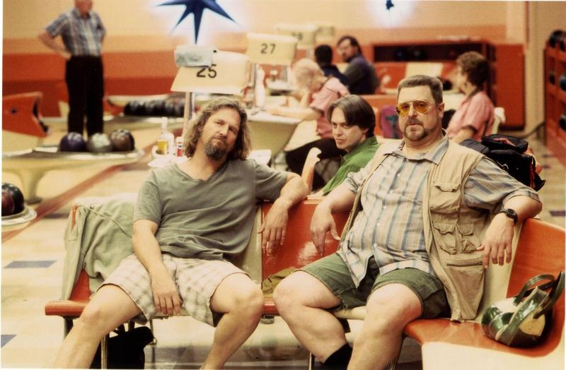 "A scene set at the bowling alley from ""The Big Lebowski."""