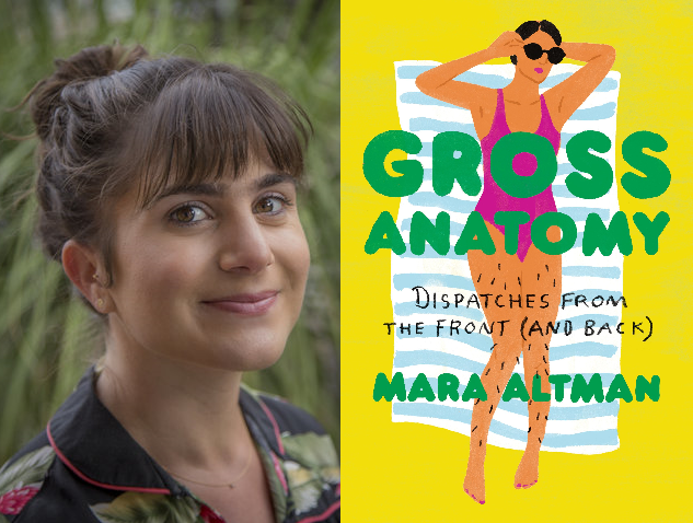 "Mara Altman and book cover ""Gross Anatomy"""
