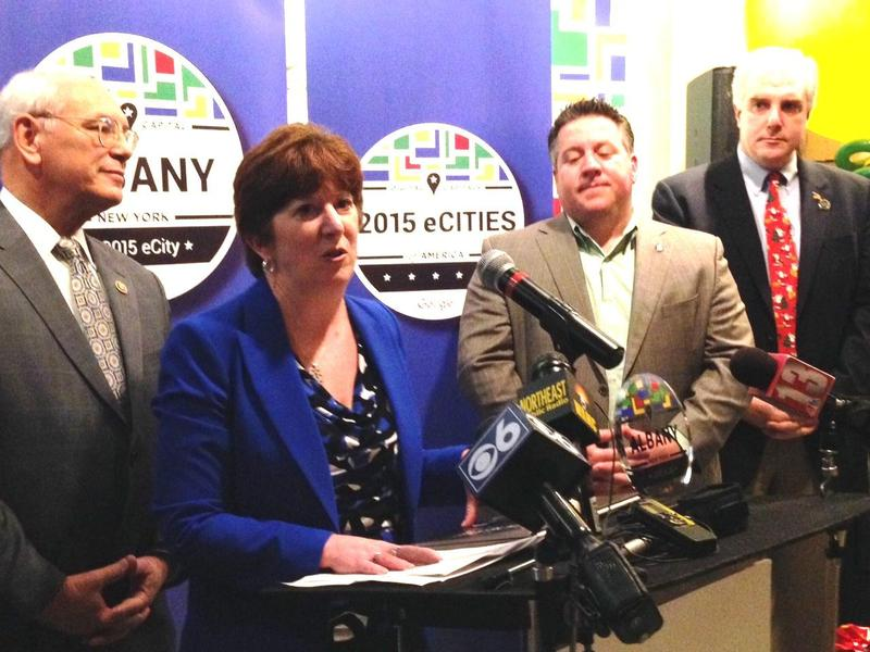Congressman Paul Tonko, Albany Mayor Kathy Sheehan, Albany County Executive Dan McCoy, City Treasurer Darius Shahinfar at Google's 2015 eCity award ceremony in downtown Albany.