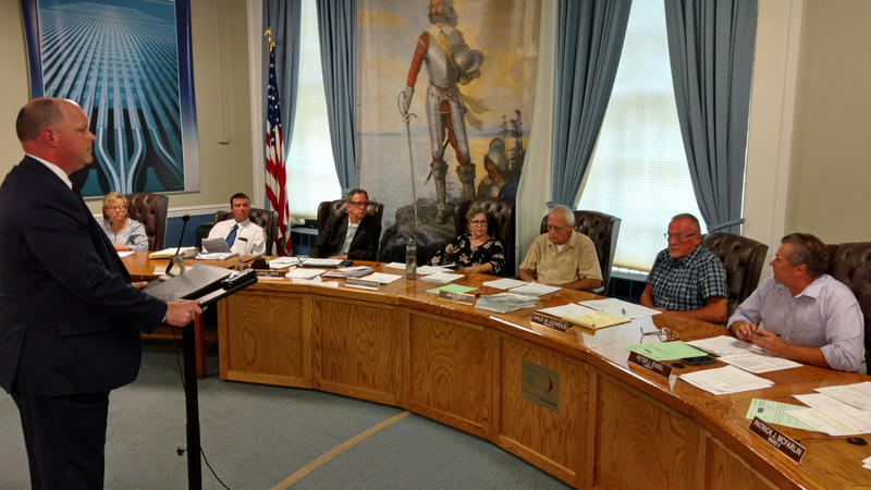 Police Chief Levi Ritter (left) discusses school resource officer plan with Plattsburgh Common Council