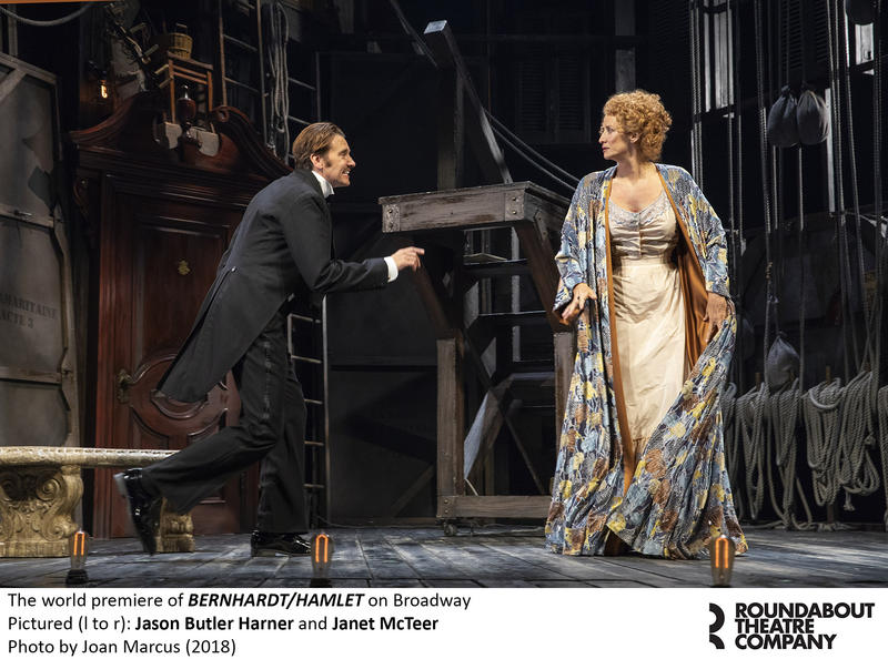 "Jason Butler Harner and Janet McTeer in Roundabout Theatre Company's ""Bernhardt/Hamlet"""