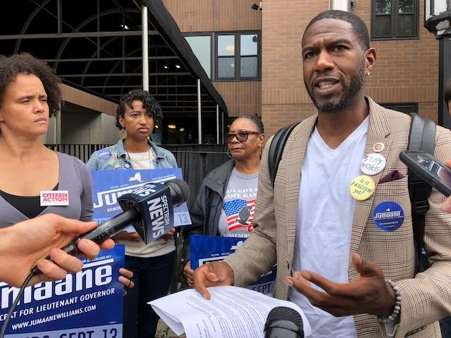 Jumaane Williams campaigns in Albany 9/11/18.