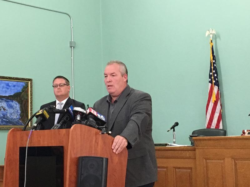 Cohoes Mayor Shawn Morse addresses reporters at City Hall.