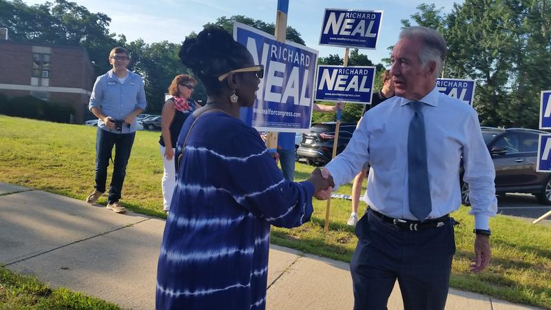 U.S. Rep Richard Neal (D-MA1) greated  supporters  outside the Springfield Boys and Girls Club Tuesday.