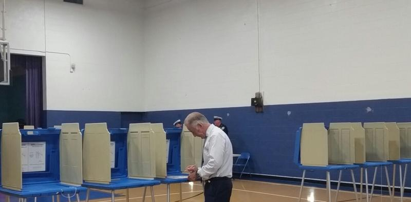 Neal marks his ballot in Tuesday's primary.