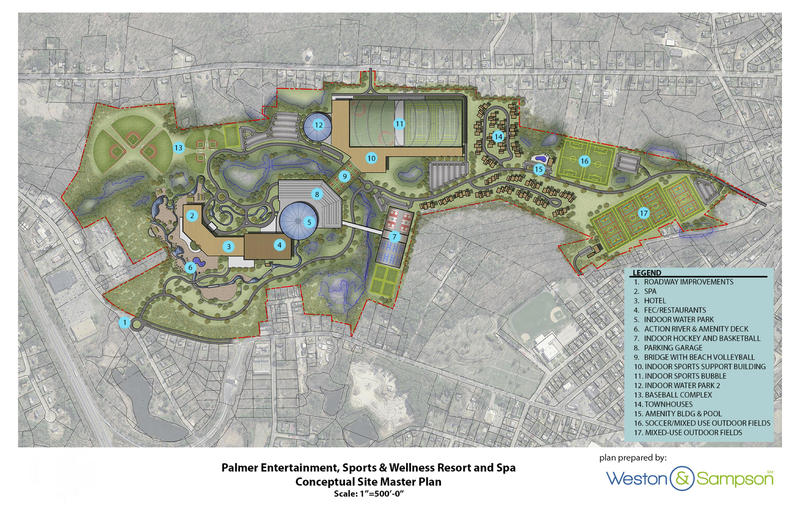 Plans for a large water park and sports complex with a 450-room hotel in Palmer, MA.